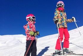kids skiing on the mountain