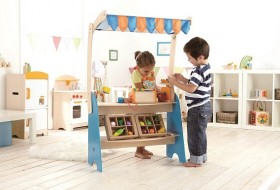wooden play stand