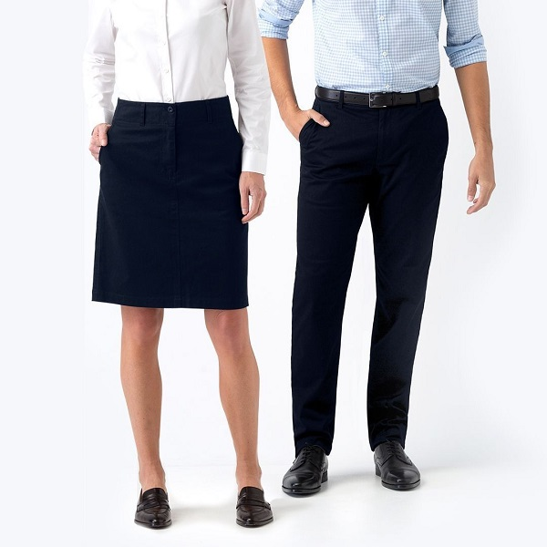 man and woman wearing office outfit