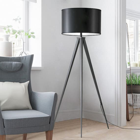 black metal tripod lamp for living room