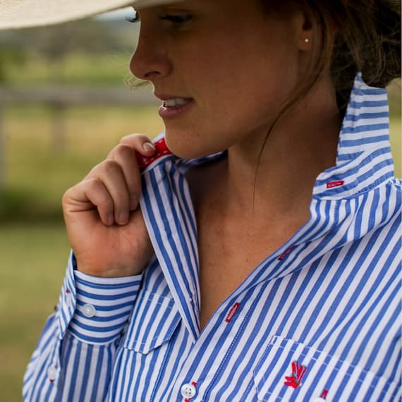 cotton work shirt with white and blue stripes