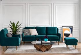 sofa for living room with armchair coffee table and artwork