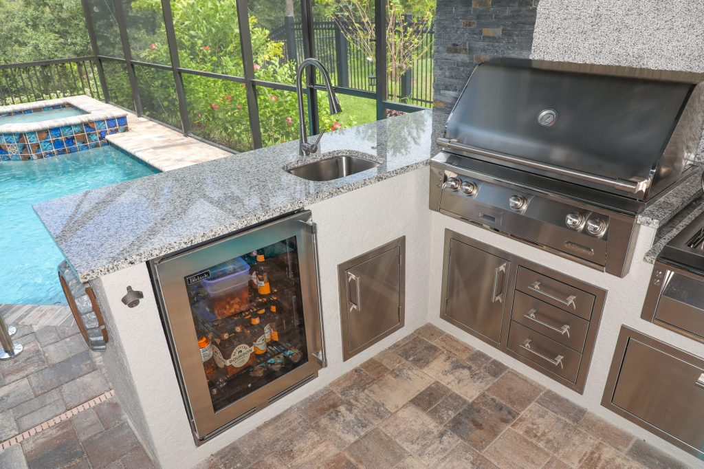 Outdoor-Kitchen-with-Alfresco-Gas-Grill-and-Perlick-Refrigerator-