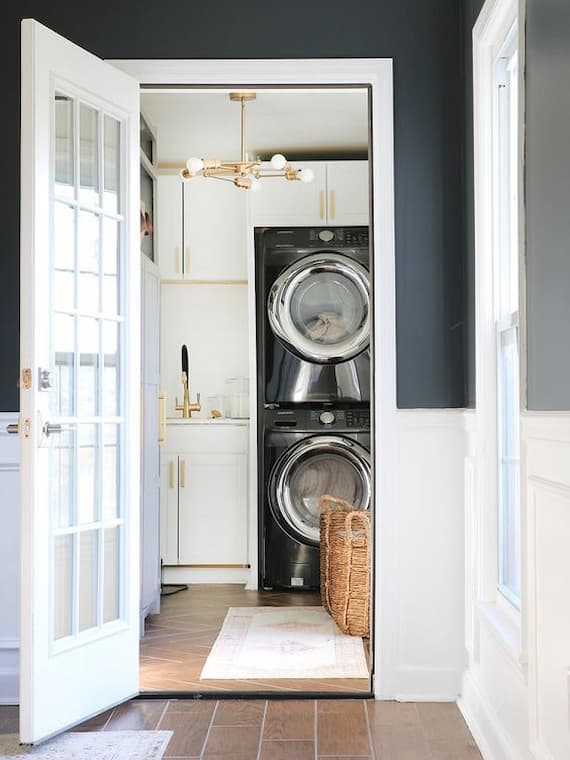 bright laundry unit in eggshell color