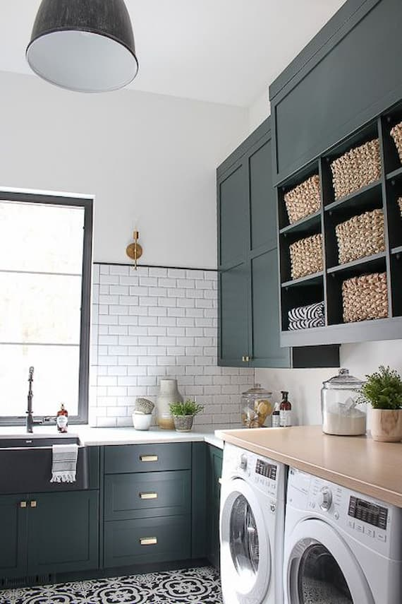 forest green laundry room