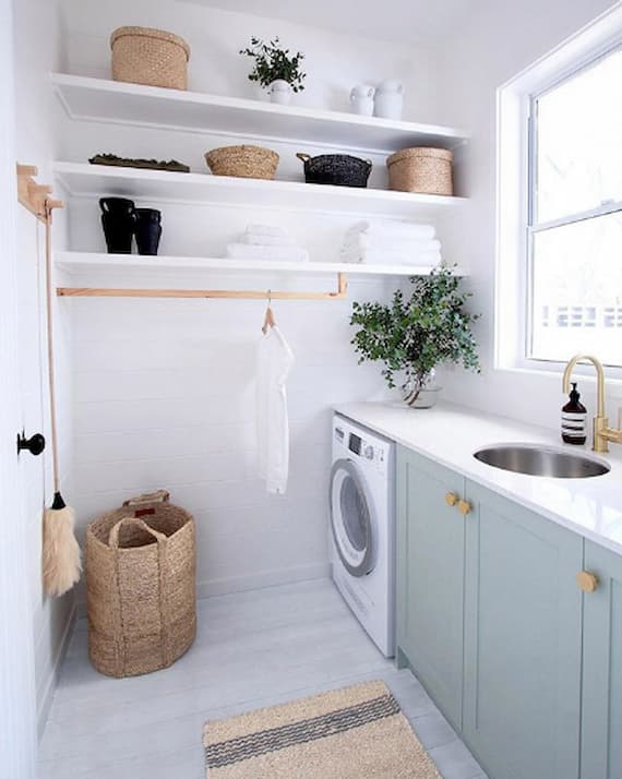 teal laundry room